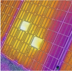 An infrared thermographic image of a photovoltaic module